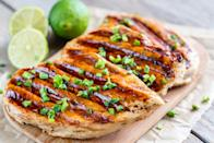 "<p>Brush 4 ounces boneless, skinless chicken breast with barbecue sauce and grill. Combine 2 heaping cups of sautéed <a href=""https://www.goodhousekeeping.com/health/diet-nutrition/a19500845/spinach-nutrition/"" rel=""nofollow noopener"" target=""_blank"" data-ylk=""slk:spinach"" class=""link rapid-noclick-resp"">spinach</a> with garlic, olive oil, and tomatoes and serve with 1/2 plain baked or sweet potato (as desired).</p><p><strong>RELATED:</strong> <a href=""https://www.goodhousekeeping.com/food-recipes/healthy/g4056/healthy-chicken-dinners/"" rel=""nofollow noopener"" target=""_blank"" data-ylk=""slk:50 Healthy Chicken Dinners for the Best Weeknights Ever"" class=""link rapid-noclick-resp""><strong>50 Healthy Chicken Dinners for the Best Weeknights Ever</strong></a></p>"