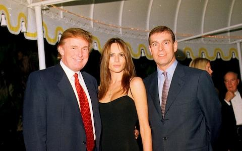 Donald Trump, Melania and Prince Andrew pictured in Palm Beach in 2000 - Credit: Davidoff/Getty