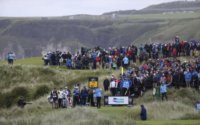David Duval of The United States plays his shot from the 7th hole during the first round of the British Open Golf Championships at Royal Portrush in Northern Ireland, Thursday, July 18, 2019.(AP Photo/Peter Morrison)
