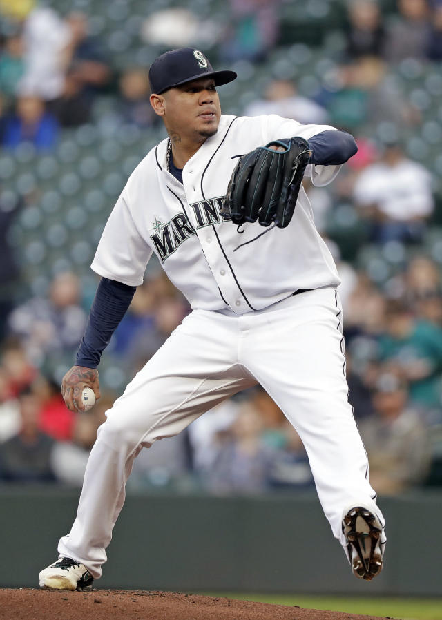 Seattle Mariners starting pitcher Felix Hernandez throws to an Oakland Athletics batter during the first inning of a baseball game Tuesday, May 1, 2018, in Seattle. (AP Photo/Elaine Thompson)