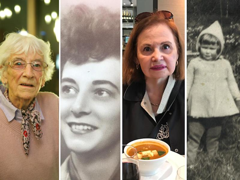 Barbara Hurman and Patricia Thompson, now and during World War Two