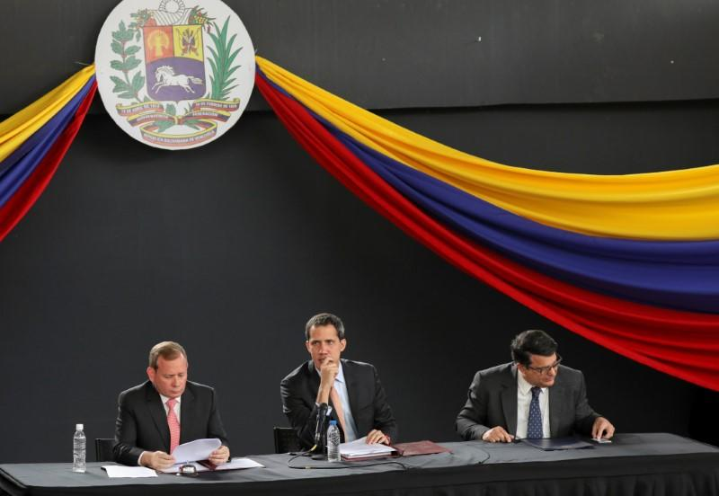 Venezuela's National Assembly President and opposition leader Juan Guaido, who many nations have recognised as the country's rightful interim ruler, takes part in a session of Venezuela's National Assembly in Caracas