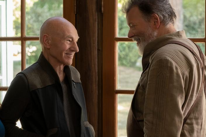 """Patrick Stewart as Picard; and Jonathan Frakes as Riker together on """"Star Trek: Picard."""""""
