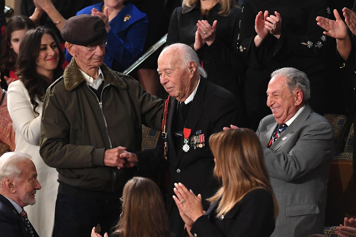 WWII Veteran Herman Zeitchik, center, is acknowledged during the State of the Union address Tuesday. (Photo: Saul Loeb/AFP/Getty Images)