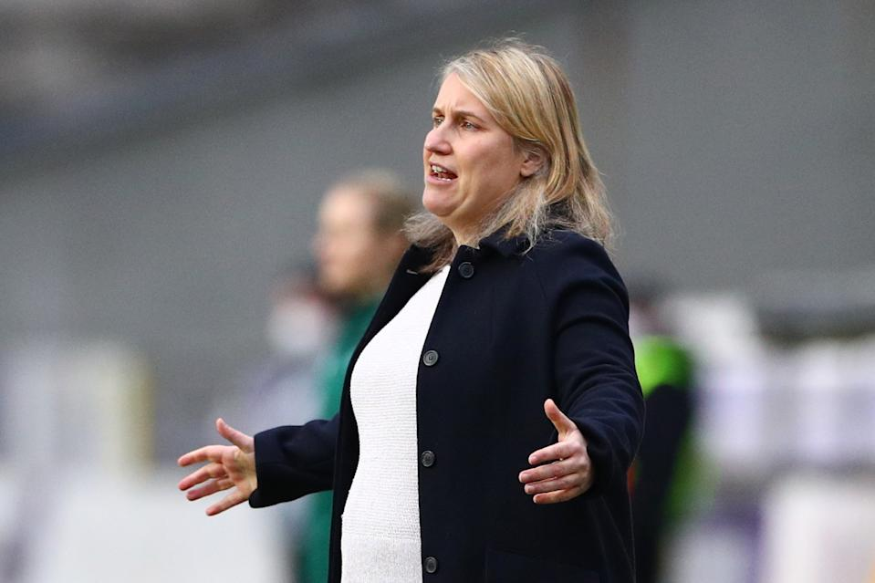 Chelsea manager Emma Hayes is hoping to progress to the Women's Champions League semi-finals with victory over German giants Wolfsburg © REUTERS
