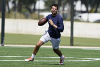 Pittsburgh quarterback Jeff George Jr. readies to pass the ball at a mini combine organized by House of Athlete, Friday, March 5, 2021, in Fort Lauderdale, Fla. (AP Photo/Marta Lavandier)