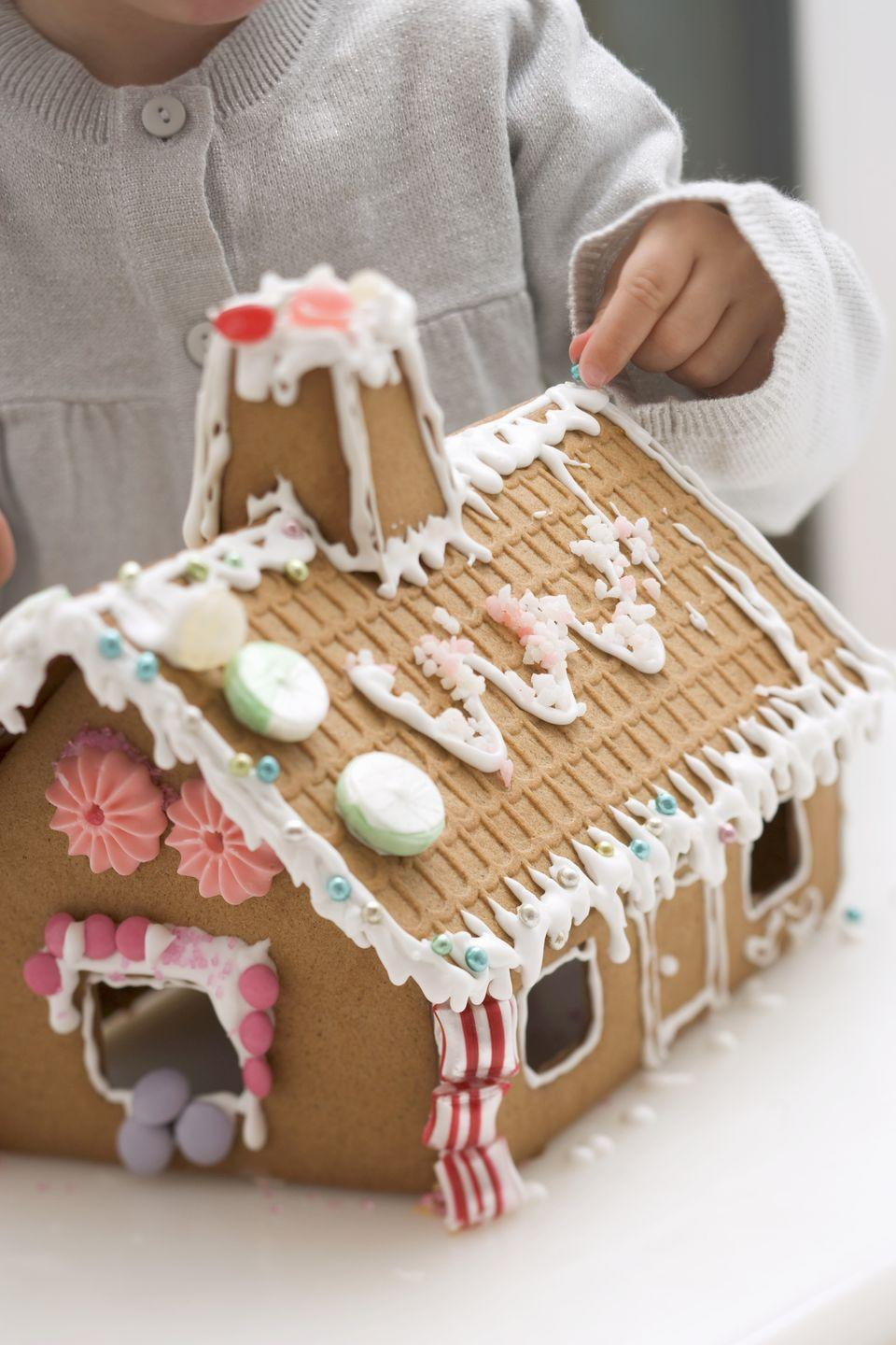 """<p>Baking <a href=""""https://www.countryliving.com/food-drinks/g1036/easy-christmas-desserts/"""" rel=""""nofollow noopener"""" target=""""_blank"""" data-ylk=""""slk:Christmas desserts"""" class=""""link rapid-noclick-resp"""">Christmas desserts</a> is always a fun activity, but after you're done making cookies, there's something else you can create—a gingerbread house! Either grab a kit or make a DIY gingerbread house for this fun activity.</p><p><a class=""""link rapid-noclick-resp"""" href=""""https://www.amazon.com/Fox-Run-Christmas-Gingerbread-Stainless/dp/B07WPWZ16X/ref=sr_1_6?dchild=1&keywords=gingerbread+house+kit&qid=1632338688&sr=8-6&tag=syn-yahoo-20&ascsubtag=%5Bartid%7C10050.g.25411840%5Bsrc%7Cyahoo-us"""" rel=""""nofollow noopener"""" target=""""_blank"""" data-ylk=""""slk:SHOP GINGERBREAD HOUSE KITS"""">SHOP GINGERBREAD HOUSE KITS</a></p>"""