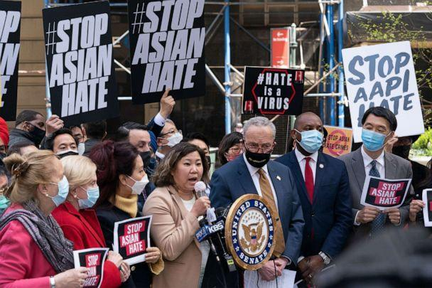 PHOTO: Rep. Grace Meng is joined by Senate Majority Leader Chuck Schumer at a news conference to discuss an Asian-American hate crime bill, April 19, 2021, in New York. (Mark Lennihan/AP, FILE)
