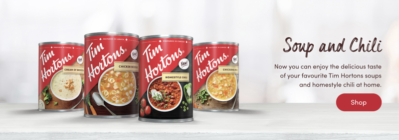 You can now find canned versions of Tim Hortons soup and chili at select retailers in Canada.