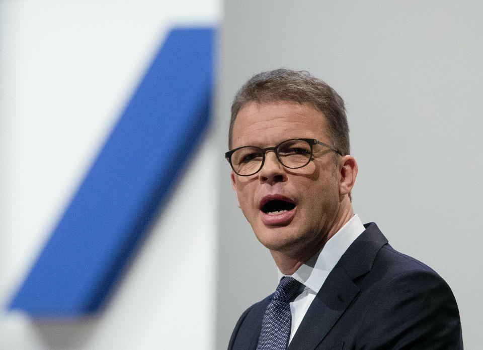 CEO of Deutsche Bank Christian Sewing speaks during the annual shareholders meeting in Frankfurt, Germany. Photo: Michael Probst/AP
