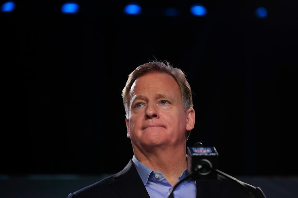 NFL commissioner Roger Goodell opened up about a much-needed conversation he had to have with his Black nephew on Monday. (Cliff Hawkins/Getty Images)