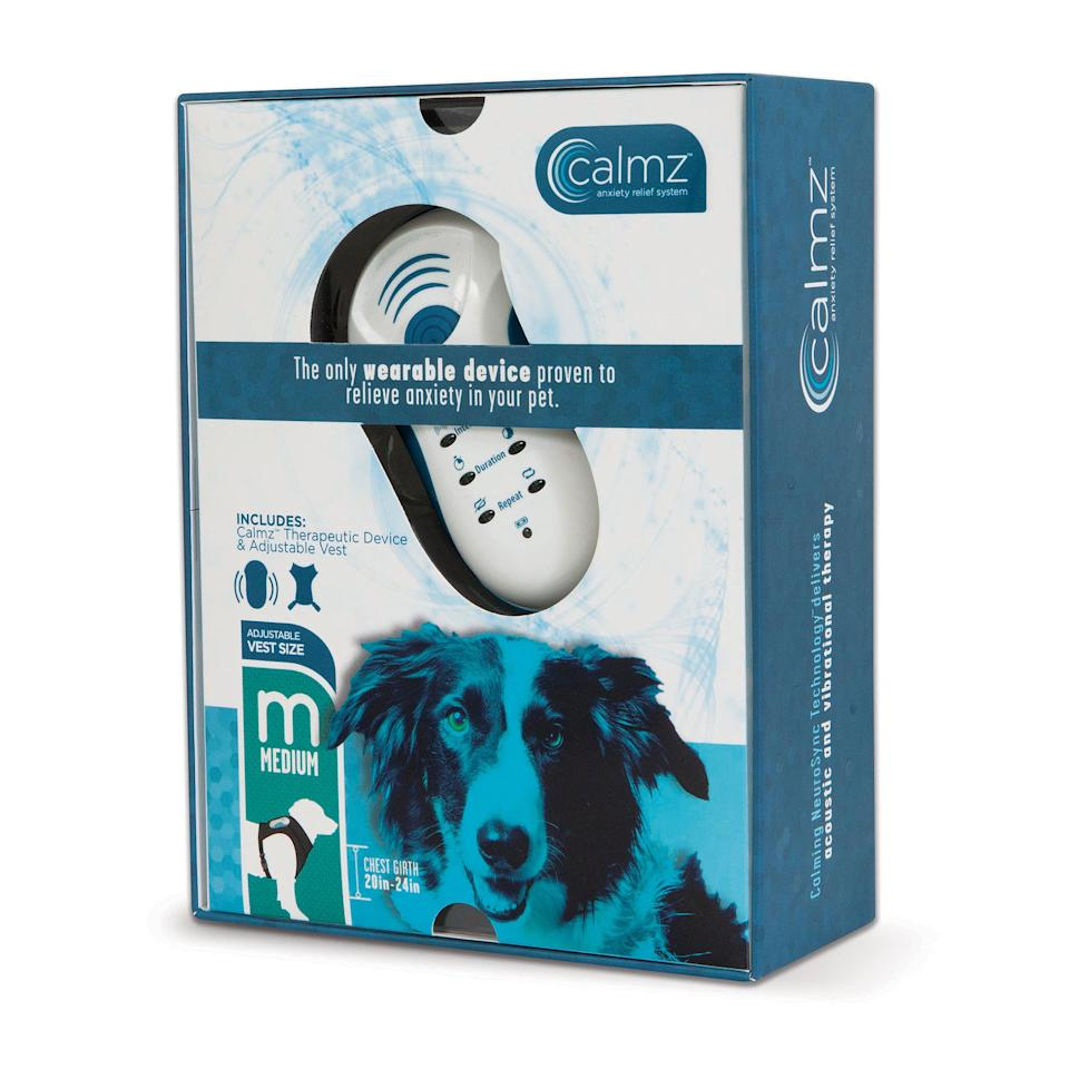 """<p>This vest provides your dog with that calming, swaddling sensation, along with music and vibration, all of which is designed to help your canine reduce his or her anxiety. <strong>Buy it!</strong> Calmz Anxiety Relief System, $129.00; <a rel=""""nofollow"""">amazon.com</a></p>"""