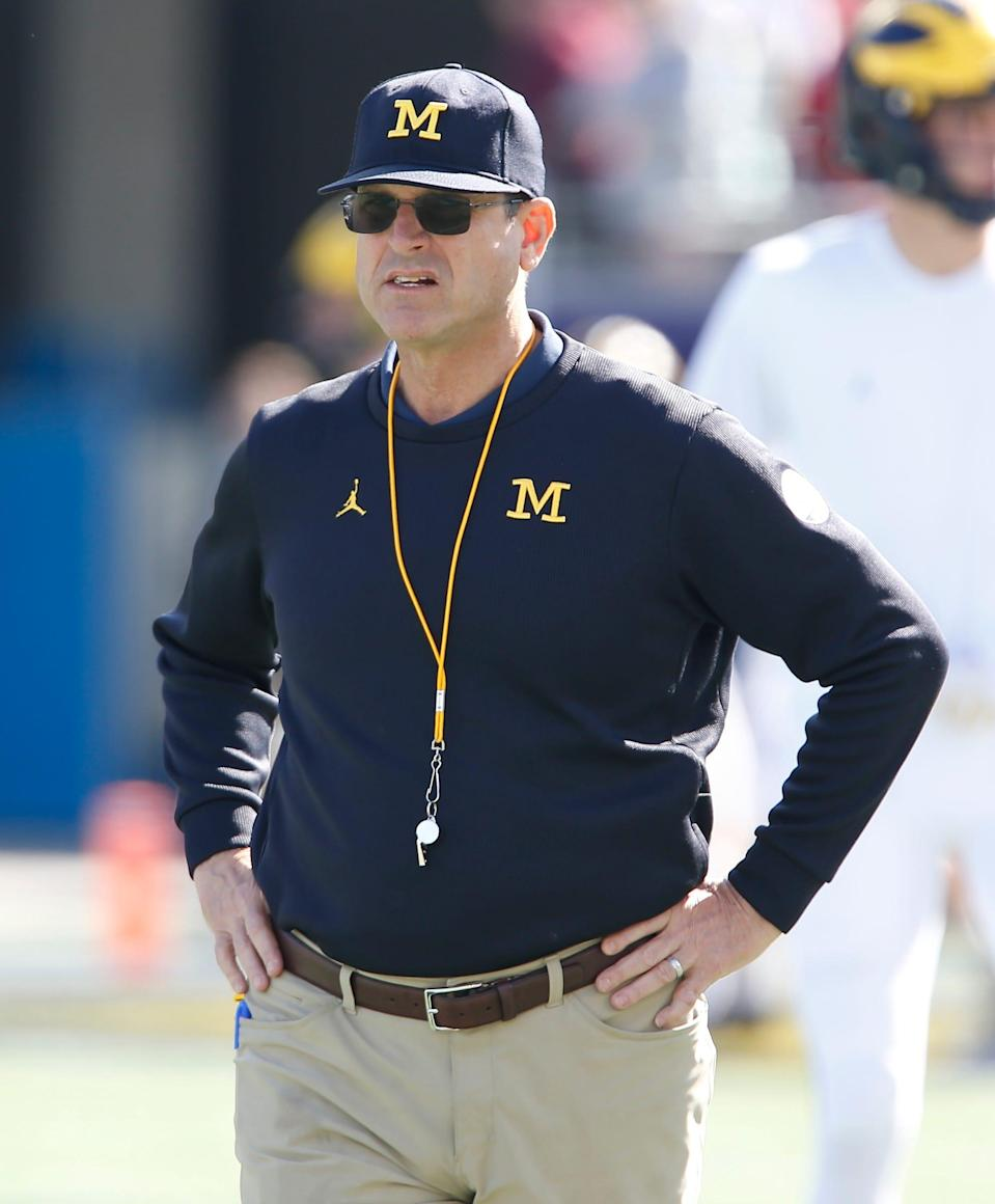 Michigan coach Jim Harbaugh at the Citrus Bowl vs. Alabama, Jan. 1, 2020 in Orlando.
