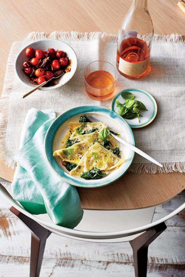 """<p>Wonton wrappers stand in for pasta, while basil and lemon keep this summer dish zesty and fresh.</p> <p> <a href=""""https://www.cookinglight.com/recipes/basil-ricotta-ravioli-spinach"""">View Recipe: Basil-Ricotta Ravioli with Spinach</a></p>"""