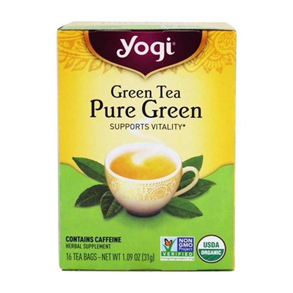 """<p><strong>Yogi</strong></p><p>amazon.com</p><p><strong>$23.88</strong></p><p><a href=""""https://www.amazon.com/dp/B0009F3SE6?tag=syn-yahoo-20&ascsubtag=%5Bartid%7C2089.g.2205%5Bsrc%7Cyahoo-us"""" rel=""""nofollow noopener"""" target=""""_blank"""" data-ylk=""""slk:Shop Now"""" class=""""link rapid-noclick-resp"""">Shop Now</a></p><p>Whether you're replacing <a href=""""https://www.bestproducts.com/eats/drinks/a15769634/reviews-delicious-coffee-brands-beans/"""" rel=""""nofollow noopener"""" target=""""_blank"""" data-ylk=""""slk:your afternoon cup of coffee"""" class=""""link rapid-noclick-resp"""">your afternoon cup of coffee</a> or are simply looking for a straightforward and flavorful green tea, this Pure Green variety from Yogi is highly rated and beloved by both tea-drinking newbies and experts alike. </p><p>Certified USDA Organic and Non-GMO-Project-Verified, Yogi's Pure Green Tea is made from a blend of leaves sourced from India, China, and Sri Lanka. </p><p>The taste is light, smooth, and refreshing — making it an ideal choice for a morning cup of tea or a healthy afternoon pick-me-up. </p>"""