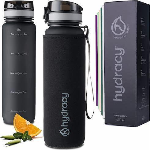 Hydracy 1-Liter Water Bottle with Time Marker