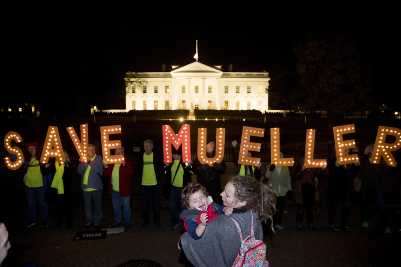 "<p>Protesters gather in front of the White House in Washington, Thursday, Nov. 8, 2018, as part of a nationwide ""Protect Mueller"" campaign demanding that acting Attorney General Matt Whitaker recuse himself from overseeing the ongoing special counsel investigation. (Photo: Andrew Harnik/AP) </p>"