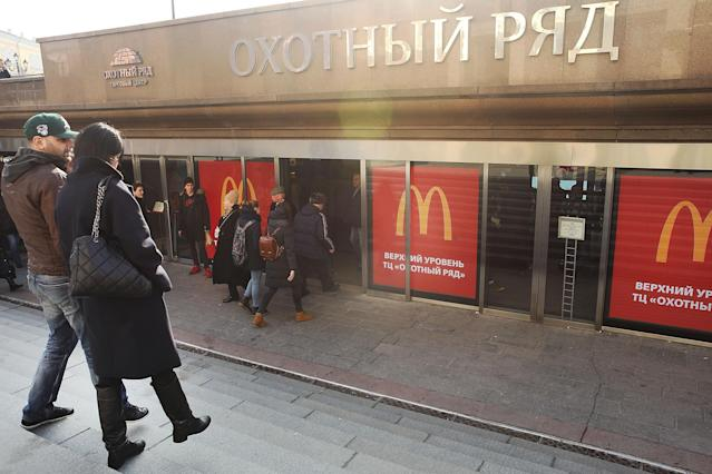 The burgers and fries sold at this McDonald's in Moscow — reportedly the world's busiest one — may soon be labeled as the products of foreign agents in a tit-for-tat game of diplomacy between Russia and the United States. (Photo: Getty Images)