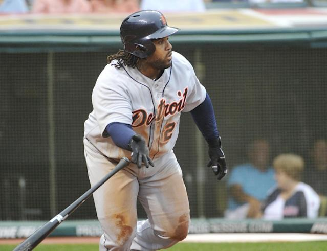Detroit Tigers' Prince Fielder watches his double off Cleveland Indians starter Zach McAllister during the third inning of a baseball game in Cleveland, Thursday, Aug. 8, 2013. Fielder's hit drove in two runs. (AP Photo/Phil Long)