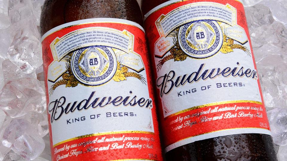 IRVINE, CA - MAY 27, 2014: Two bottles of Budweiser on a bed of ice.