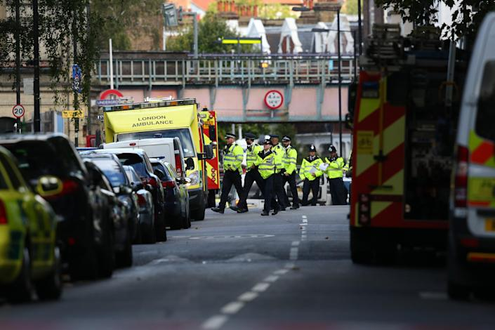 <p>Emergency services attend to the scene near Parsons Green Underground Station on Sept. 15, 2017 in London, England. (Photo: Jack Taylor/Getty Images) </p>