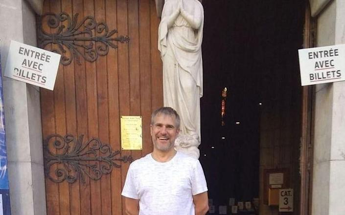 The male victim of Nice knife attack has been identified locally as Vincent L, a 45-year-old father-of-two who worked as sacristan of the church, and was killed inside the building - -/Daily Mail