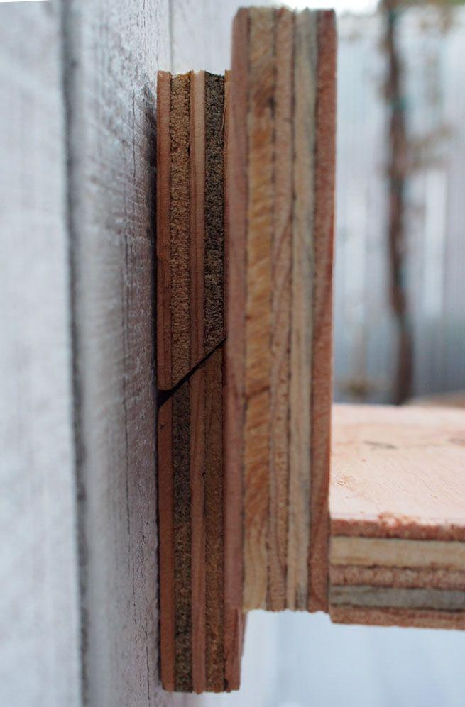 <p>If you can view a side profile of the French cleat, you should see the two angled pieces of plywood sitting flush against each other with the shelf flat against the wall cleat.</p>
