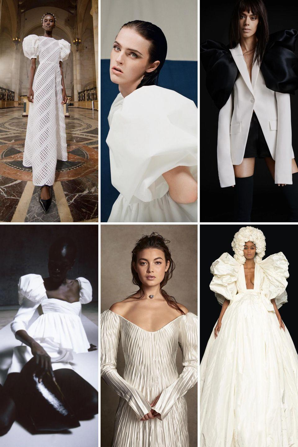 <p>The '80s have been making a comeback on runways for seasons—and bold shoulders are just another nod to fashion's most daring decade. </p><p>Puff sleeves give the body a postural presence, while blouson sleeves feel poetic and romantic, with an edge. Bold shoulder details work double duty, feeling dreamy while offering the daring touch that thinks outside the strapless, off-shoulder, and plunging neckline standards.</p><p><em>Clockwise from left: Carolina Herrera Spring 2021; Christopher John Rogers Spring 2021; Vera Wang Fall 2021; Khaite Spring 2021; Danielle Frankel Fall 2020, Valentino Fall 2020 Haute Couture.</em></p>