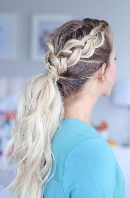 """<div>  If you're in need of a remedy for unruly bangs but want some curl in your ponytail too, braid it! Wrap the braid around your elastic and your ready to go.  <i>Photo:<a rel=""""nofollow"""" title="""""""" href=""""http://www.twistmepretty.com/2016/10/15015.html"""" rel="""""""">Twist Me Pretty</a></i>  </div>"""