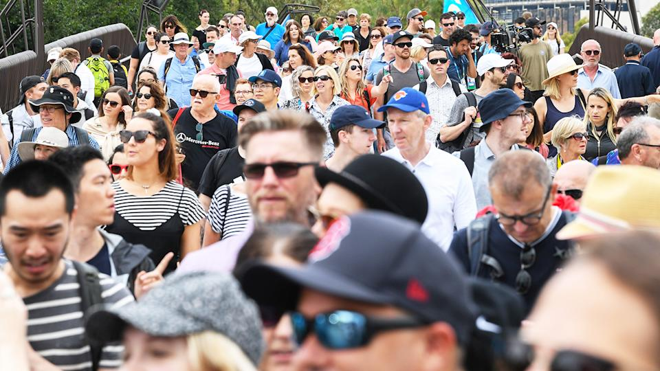 Crowds of tennis fans, pictured here at Melbourne Park for the 2020 Australian Open in January.