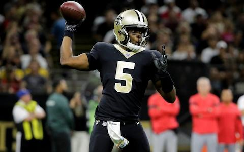 New Orleans Saints quarterback Teddy Bridgewater (5) throws a pass against the Tampa Bay Buccaneers during the first half at the Mercedes-Benz Superdome - Credit: USA Today