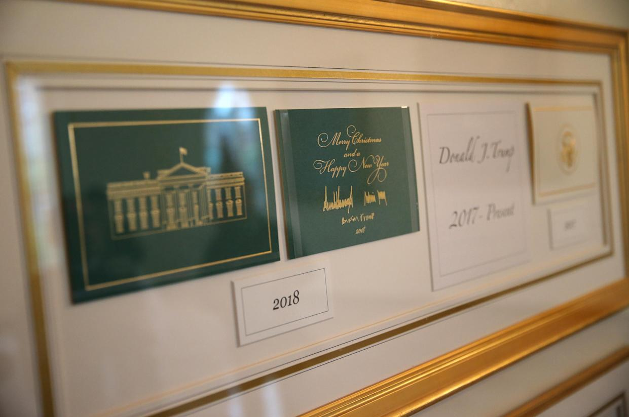 The President's Christmas card is on display during the 2018 Christmas Press Preview at the White House in Washington, D.C., Nov. 26, 2018. (Photo: Leah Millis/Reuters)