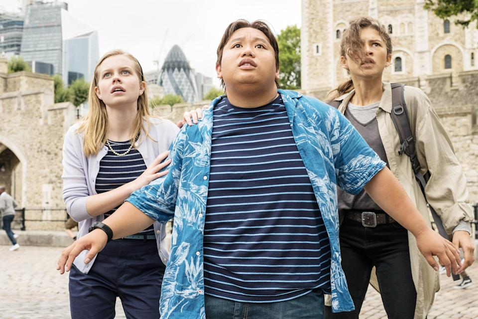 Betty (Angourie Rice), Ned (Jacob Batalon) and MJ (Zendaya) go from bystanders to action heroes in the climax of 'Far From Home' (Photo: Jay-Maidment / © Columbia / © Marvel Studios/ Courtesy Everett Collection)