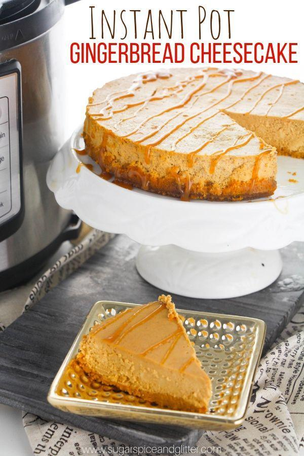 """<p>If you like gingerbread, you'll be instantly obsessed with this recipe that calls for cream cheese, ginger powder, and cinnamon (and crushed ginger cookies for the crust!). </p><p> <em><a href=""""https://sugarspiceandglitter.com/instant-pot-gingerbread-cheesecake/"""" rel=""""nofollow noopener"""" target=""""_blank"""" data-ylk=""""slk:Get the recipe from Sugar, Spice, and Glitter »"""" class=""""link rapid-noclick-resp"""">Get the recipe from Sugar, Spice, and Glitter »</a></em> </p>"""