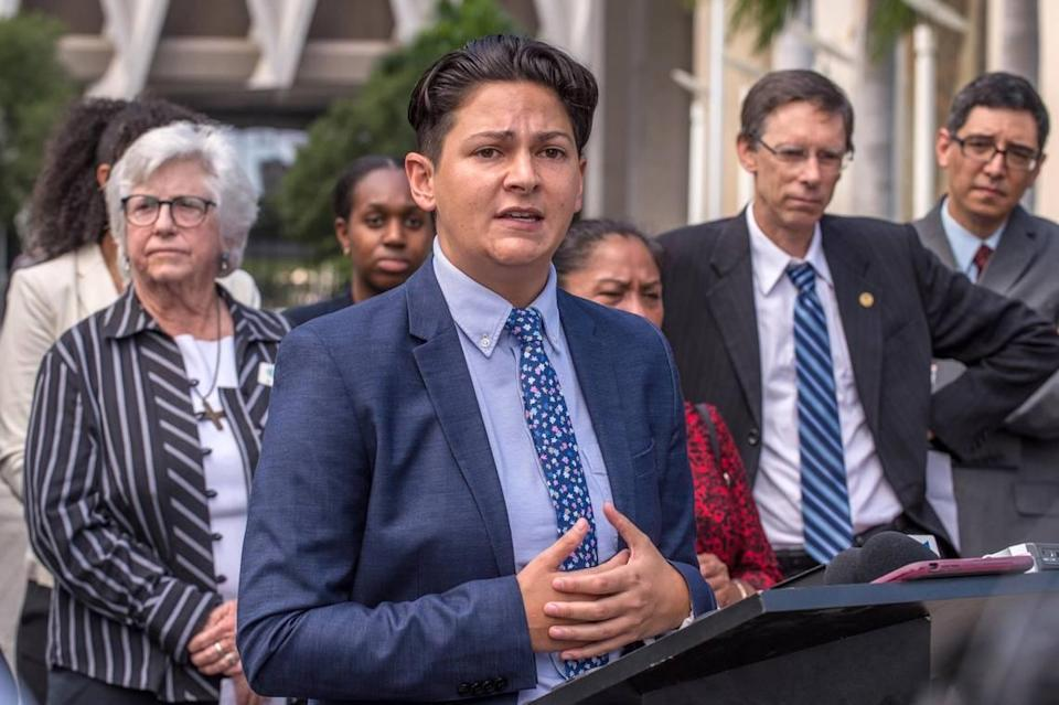 Lawyer Mich Gonzalez speaks during a press conference outside the Wilkie D. Ferguson U.S. Courthouse in Miami on Thursday, September 26, 2019, before a court hearing where South Miami and immigrant rights groups seek an injunction over what they call an unconstitutional immigration law. The new Florida law purports to give ICE authority to conscript local police officers into performing immigration enforcement functions and prohibiting sanctuary policies.
