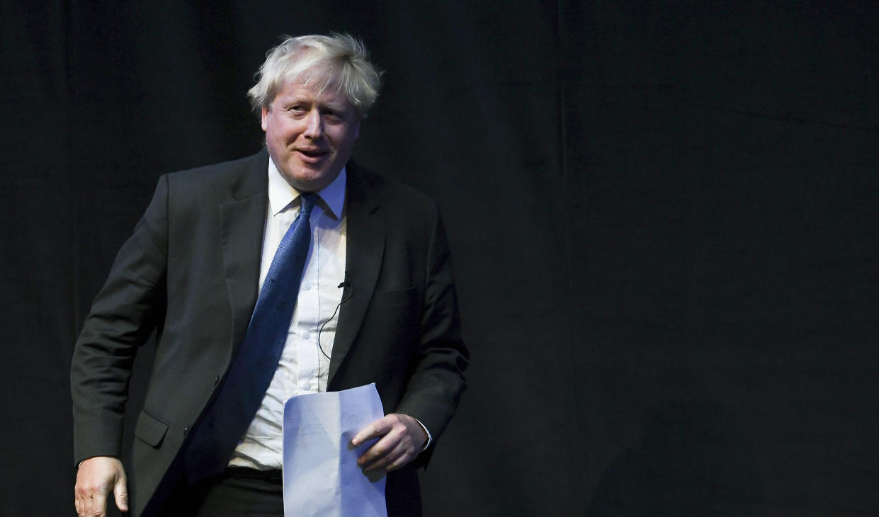 BIRMINGHAM, ENGLAND - OCTOBER 02:  Boris Johnson prior to speaking at a Conservative home fringe meeting on day three of the Conservative Party Conference on October 2, 2018 in Birmingham, England. The former Foreign Secretary makes his Brexit speech to the Conservative Home fringe meeting audience today. This is seen as a direct challenge to the Prime Minister's much maligned Chequers Deal. (Photo by Steve Back/Getty Images)