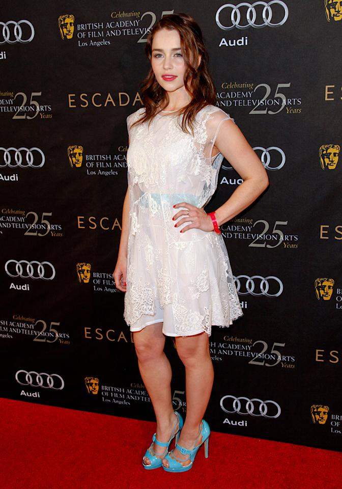 Emilia Clarke attends the 18th annual BAFTA  tea party for the Los Angeles awards season at Four Seasons Hotel Los Angeles at Beverly Hills on January 14, 2012 in Beverly Hills, California.