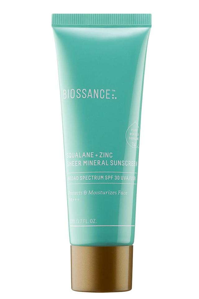 """<p><strong>Biossance</strong></p><p>sephora.com</p><p><strong>$30.00</strong></p><p><a href=""""https://go.redirectingat.com?id=74968X1596630&url=https%3A%2F%2Fwww.sephora.com%2Fproduct%2Fbiossance-squalane-zinc-sheer-mineral-sunscreen-spf-30-pa-P456410&sref=https%3A%2F%2Fwww.cosmopolitan.com%2Fstyle-beauty%2Fbeauty%2Fg30831822%2Fbest-zinc-sunscreens%2F"""" target=""""_blank"""">Shop Now</a></p><p>In addition to zinc, this SPF 30 sunscreen from Biossance <strong>contains moisturizing squalane to soften dry, flaky skin</strong>. Use it every morning (on a clean face or over your <a href=""""https://www.cosmopolitan.com/style-beauty/beauty/g25360983/best-face-serum/"""" target=""""_blank"""">serum</a> of choice) to hydrate your skin and protect it from UV damage during the day.</p>"""