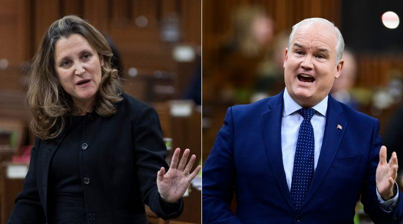 Deputy Prime Minister Chrystia Freeland and Conservative Leader Erin O'Toole are shown in a composite image of photos taken by The Canadian Press. (Photo: CP)