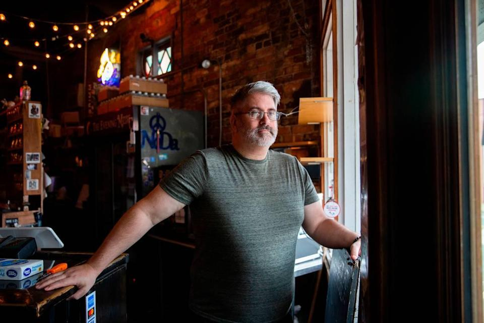 Joe Kuhlmann, founder and co-owner of The Evening Muse, stands inside his music venue in the NoDa neighborhood Wednesday, August 5, 2020