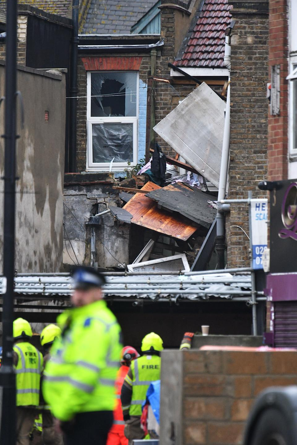 Emergency services at the scene of a suspected gas explosion on King Street in Southall, west London (Photo: PA)