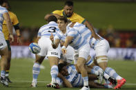 Argentina's Gonzalo Bertanou passes the ball during their Tri-Nations rugby union match against Australia in Newcastle, Australia, Saturday, Nov. 21, 2020. (AP Photo/Rick Rycroft)