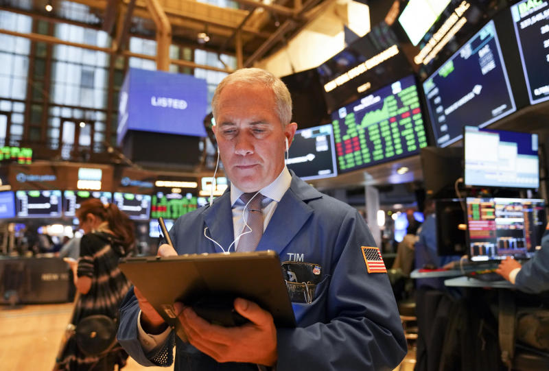 NEW YORK, March 2, 2020 -- A trader works at New York Stock Exchange in New York, the United States, on March 2, 2020. U.S. stocks finished sharply higher on Monday following last week's rout. The Dow Jones Industrial Average soared 1,293.96 points, or 5.09 percent, to 26,703.32. The S&P 500 rallied 136.01 points, or 4.60 percent, to 3,090.23. The Nasdaq Composite Index increased 384.80 points, or 4.49 percent, to 8,952.16. (Photo by Wang Ying/Xinhua via Getty) (Xinhua/Wang Ying via Getty Images)