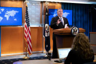 Secretary of State Mike Pompeo speaks during a media briefing, Tuesday, Nov. 10, 2020, at the State Department in Washington. (AP Photo/Jacquelyn Martin, Pool)
