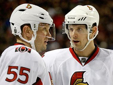 Sergei Gonchar (L) has contributed to the Sens' NHL-best power play, while Jason Spezza (R) is among the league's scoring leaders