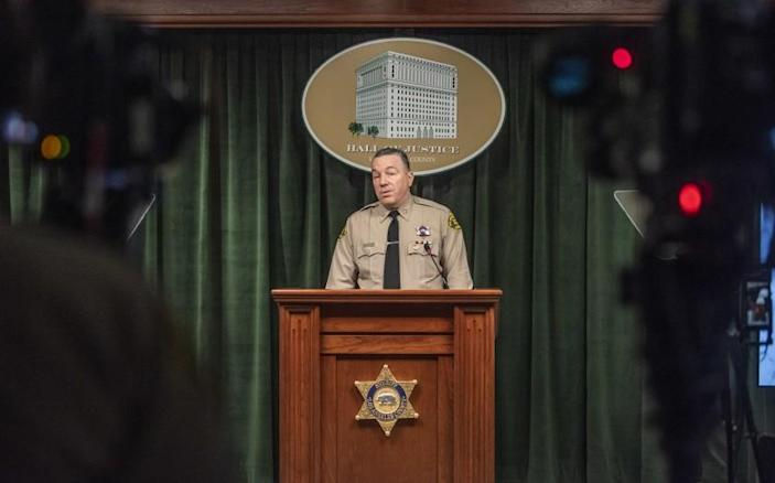 Los Angeles County Sheriff Alex Villanueva briefs the media about the latest safety precautions the department is taking regarding COVID-19 at the Hall of Justice in Los Angeles on Monday, March 16, 2020. ( Photo by Nick Agro / For The Times)
