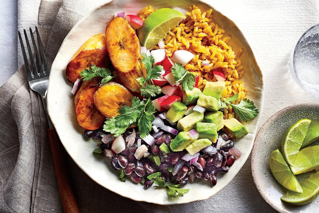 """<p>Don't think you can get a filling, flavorful meal in just one bowl? We're here to prove you wrong. Brighten up dinnertime with this colorful, customizable meal. Start with bowls filled with yellow rice, black beans, and plantains, and then let everyone add their favorite toppings. If your family loves <a href=""""https://www.southernliving.com/food/healthy-light/avocado-recipes"""">avocado</a>, make sure you have enough to go around. You'll be floored by how much flavor fits into one bowl of this <a href=""""https://www.southernliving.com/food/whats-for-supper/quick-and-easy-vegetarian-recipes"""">meatless meal</a>. This simple recipe will be on your table in just 50 minutes, and every bite has sweet, spicy, salty, and savory notes. If you're new to cooking with plantains, we have a tip from the Test Kitchen: Plantains are ready to cook when their peels turn black on the outside, so buy them black or let them ripen before cooking. Many grocery stores sell heat-and-serve frozen plantains too. You'll love the sweet crunch the plantains give this colorful dish, so gather the family around the table and tell them to dig in.</p> <p><a href=""""https://www.myrecipes.com/recipe/cuban-black-bean-yellow-rice-bowls"""">Cuban Black Bean-and-Yellow Rice Bowls Recipe</a></p>"""