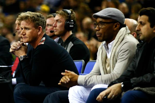 LONDON, ENGLAND - JANUARY 14: Former Chelsea footballer Didier Drogba and chef Gordon Ramsey watch the 2016 NBA Global Games London match between Toronto Raptors and Orlando Magic at The O2 Arena on January 14, 2016 in London, England. (Photo by Clive Rose/Getty Images)