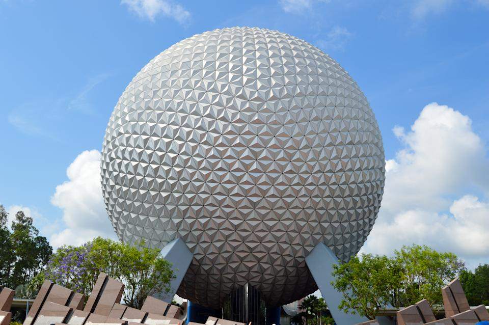 Spaceship Earth ride which stands at the entrance to Epcot at Walt Disney World