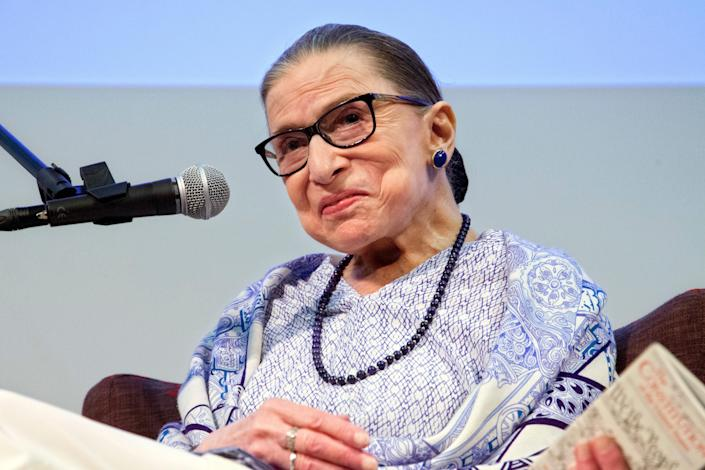 """US Supreme Court Justice Ruth Bader Ginsburg speaks after the screening of """"RBG,"""" the documentary about her, in Jerusalem, Thursday, July 5, 2018. Ginsburg says she hopes the traditional """"bipartisan spirit"""" of congressional hearings for judges will once again prevail rather than recent votes that have divided along party lines. (AP Photo/Caron Creighton) ORG XMIT: SEB102"""